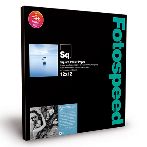 "Fotospeed Platinum Baryta 300 Fine Art Gloss Square Paper Sheets - 300gsm - 12"" x 12"" inch - 25 sheets - 7E475"