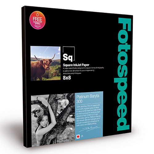 "Fotospeed Platinum Baryta 300 Fine Art Gloss Square Paper Sheets - 300gsm - 8"" x 8"" inch - 25 sheets - 7E473"