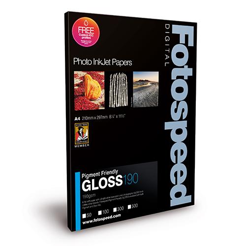 Fotospeed PF Gloss 190 Paper Sheets - 190gsm - A4 x 50 sheets - 7D450