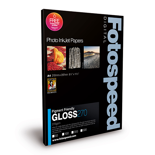 Fotospeed PF Gloss 270 Paper Sheets - 270gsm - A3 x 50 sheets - 7D317
