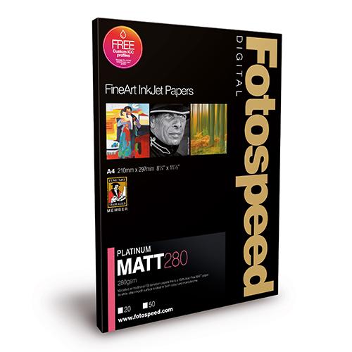 Fotospeed Platinum Matt 280 Fine Art Matt Paper Sheets - 280gsm - A4 x 25 sheets - 7E530