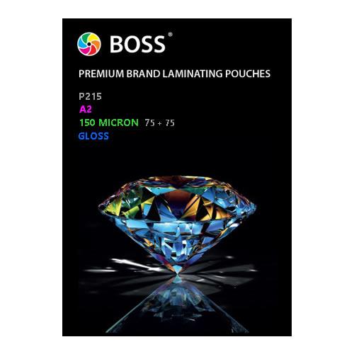 BOSS Premium Brand Laminating Pouches | Gloss | 150 micron | A2 | 50 Pouches | P215