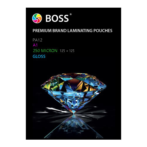BOSS Premium Brand Gloss Laminating Pouches | Gloss | 250 micron | A1 | 25 Pouches