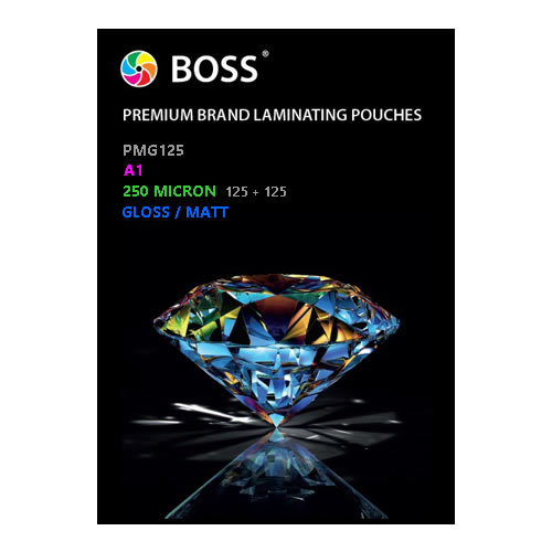 BOSS Premium Brand Laminating Pouches | Gloss / Matt | 250 micron | A1 | 25 Pouches