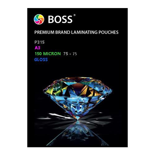 BOSS Premium Brand Laminating Pouches | Gloss | 150 micron | A3 | 100 Pouches | P315