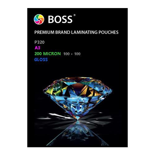 BOSS Premium Brand Laminating Pouches | Gloss | 200 micron | A3 | 100 Pouches | P320