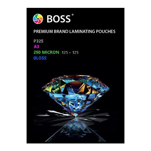 BOSS Premium Brand Laminating Pouches | Gloss | 250 micron | A3 | 100 Pouches | P325