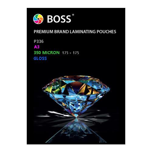 BOSS Premium Brand Laminating Pouches | Gloss | 350 micron | A3 | 100 Pouches | P336