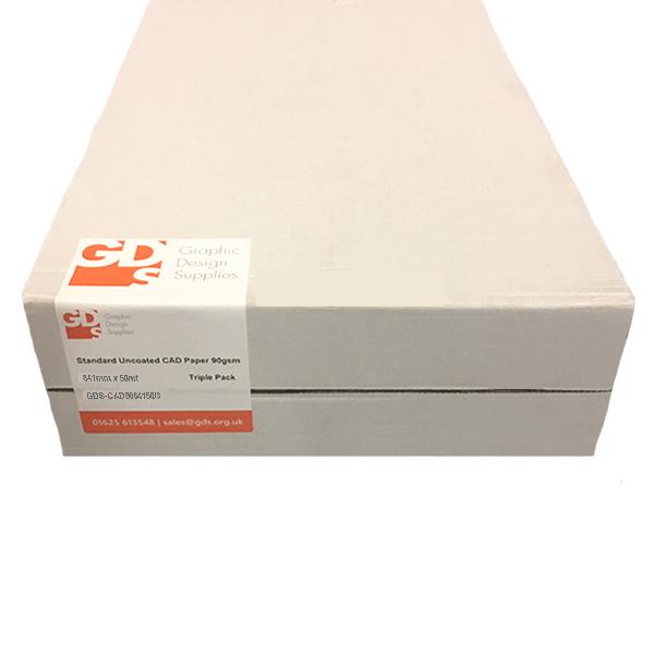 "GDS Standard Uncoated Inkjet CAD Printer & Plotter Paper Roll | 90gsm | 33.1"" inch | A0 | 841mm x 50mt | Triple Pack | GDS-CAD9084150/3"