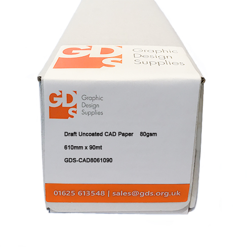 "HP DesignJet T2530 Printer Paper Roll   GDS Draft Uncoated Inkjet CAD Printer & Plotter Paper Roll   80gsm   24"" inch   A1+ size   610mm x 90mt   GDS-CAD8061090/T2530"