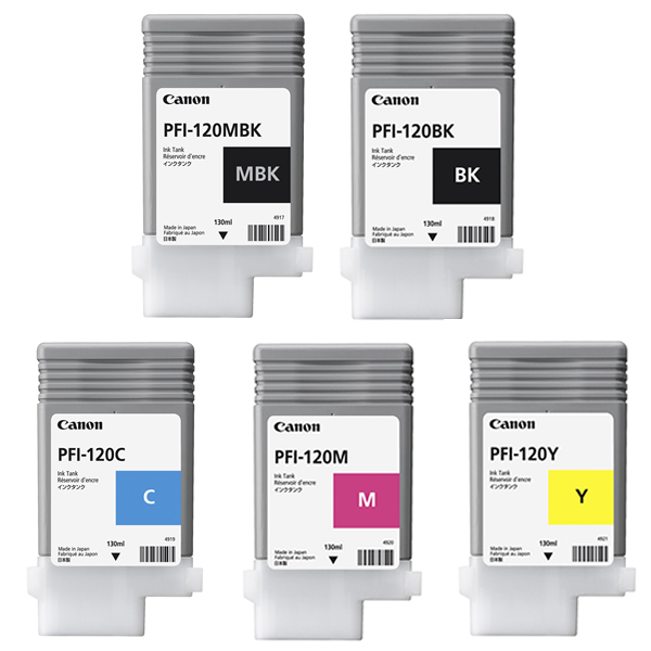 Canon PFI-120MBK Printer Ink Cartridges | Full set of 5 x ink tanks for the Canon TM-200, TM-205, TM-300 & TM-305 Printers | 5 x 130ml | 2884C001AA-2888C001AA