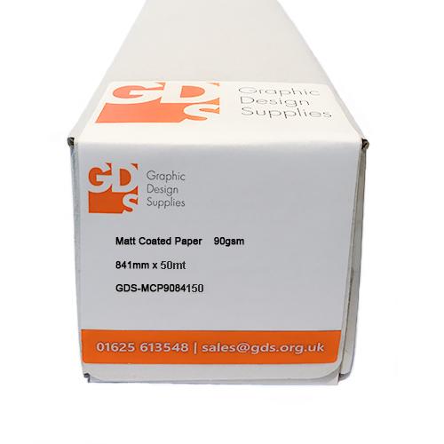"GDS Matt Coated Paper Roll | 90gsm | 33.1"" inch | A0 | 841mm x 50mt | Lightweight Presentation Quality | GDS-MCP9084150"