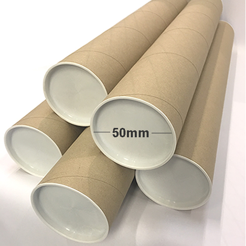 GDS Postal Tubes | With White Plastic End Caps | 1.5mm Cardboard | 50mm Diameter | 450mm Length | A2/A3 size | 25 Pack | GDS-PT50450