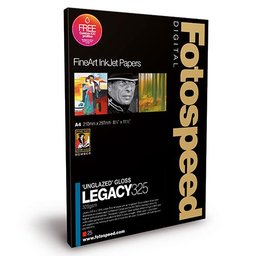 Fotospeed Legacy Gloss Fine Art 'Unglazed' Gloss Paper Sheets - 325gsm - A3+ x 25 sheets - 7E592