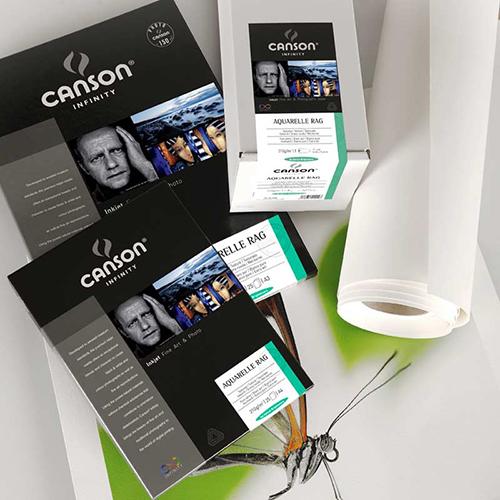 Canson Infinity Aquarelle Rag 310 Fine Art Matt Textured Paper Sheets - 310gsm - A3+ x 25 sheets - C6121018