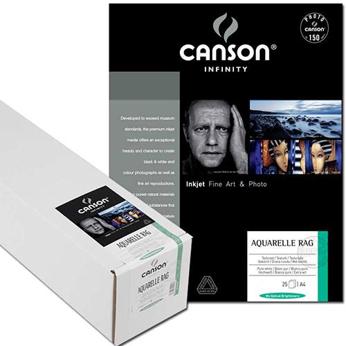 "Canson Infinity Aquarelle Rag 310 Fine Art Matt Textured Paper Roll - 310gsm - 44"" inch - 1118mm x 15.2mt - C6122004"