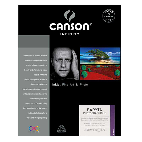 Canson Infinity Baryta Photographique 310 Extra Smooth Satin Paper Sheets - 310gsm - A3 x 25 sheets - C00002276