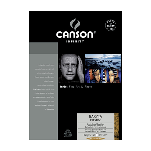 Canson Infinity Baryta Prestige 340 Extra Smooth Gloss Paper Sheets - 340gsm - A3+ x 25 sheets - C0083931