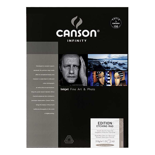 Canson Infinity Edition Etching Rag 310 Fine Art Matt Textured Paper Sheets - 310gsm - A3+ x 25 sheets - C6211008