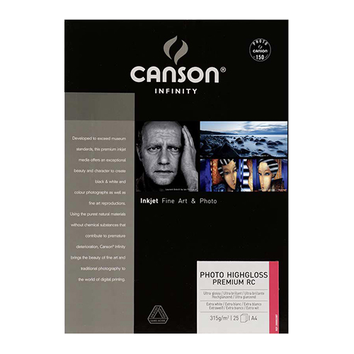 Canson Infinity Photo HighGloss Premium RC 315 Extra Smooth Gloss Paper Sheets - 315gsm - A3 x 25 sheets - C0002285