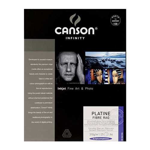 Canson Infinity Platine Fibre Rag 310 Smooth Satin Paper Sheets - 310gsm - A3+ x 25 sheets - C6211038