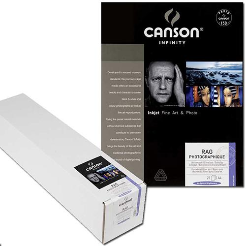 "Canson Infinity Rag Photographique 310 Fine Art Matt Smooth Paper Roll - 310gsm - 24"" inch - 610mm x 15.2mt - C6212017"