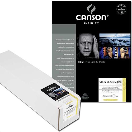 Canson Infinity Velin Museum Rag 315 Fine Art Matt Textured Paper Sheets - 315gsm - A4 x 25 sheets - C6111018