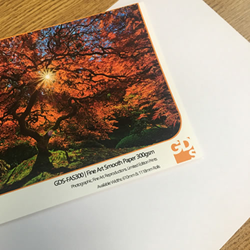GDS Fine Art Smooth - Colour comparison (under artificial light) against basic white office copier paper