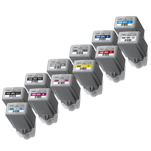 Canon PFI-1000 Printer Ink Cartridges | Full set of 12 x ink tanks for Canon PRO-1000 Printers | 12 x 80ml | 0545C001-0556C001