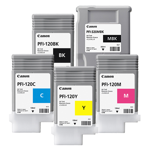 Canon PFI-120 / PFI-320 Printer Ink Cartridges | Full set of 5 x ink tanks for Canon TM-200, TM-205, TM-300 & TM-305 Printers | 1 x 300ml (MBK) 4 x 130ml | 2885C001AA-2889C001AA
