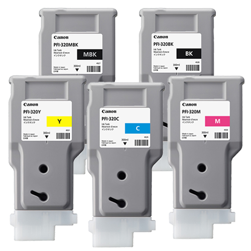 Canon PFI-320 Printer Ink Cartridges | Full set of 5 x ink tanks for Canon TM-200, TM-205, TM-300 & TM-305 Printers | 5 x 300ml | 2889C001AA-2893C001AA