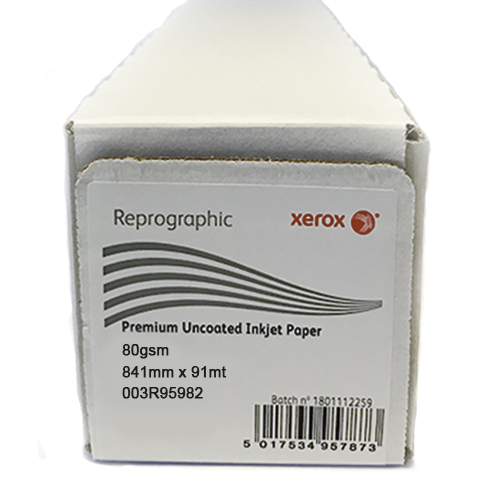 "Xerox Performance Uncoated CAD Inkjet Plotter Paper Roll | 80gsm | 33.1"" inch 