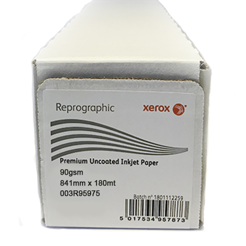 "Xerox Performance Uncoated CAD Inkjet Plotter Paper Roll | 90gsm | 33.1"" inch 