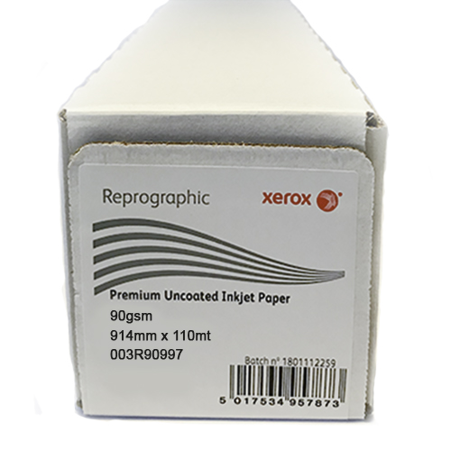 "Xerox Performance Uncoated CAD Inkjet Plotter Paper Roll | 90gsm | 36"" inch 