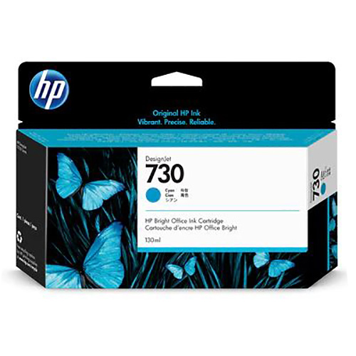 HP 730 Ink Cartridge - Cyan - 130ml - for HP DesignJet T1700 Printers - P2V62A