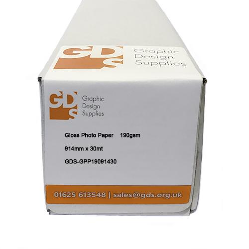 "HP DesignJet T530 Printer Paper | Gloss Photo Paper Roll | 190gsm | 36"" inch | A0+ | 914mm x 30mt | GDS-GPP19091430/T530"