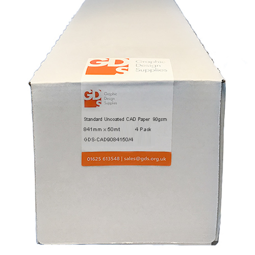 "GDS Standard Uncoated Inkjet CAD Printer & Plotter Paper Roll | 90gsm | 33.1"" inch 