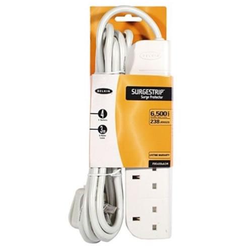 Belkin e-Series 4 way Surge Strip | 3mt Cable | White | F9E400UK3M