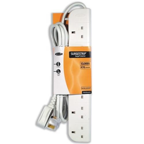 Belkin e-Series 6 way Surge Strip | 3mt Cable | White | F9E600UK3M