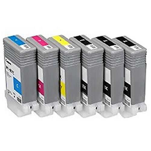 Canon PFI-107 Printer Ink Cartridges | Full set of 6 x ink tanks for Canon iPF670 & iPF770 Printers | 6 x 130ml | 6704B001AA(x2)-6708B001AA
