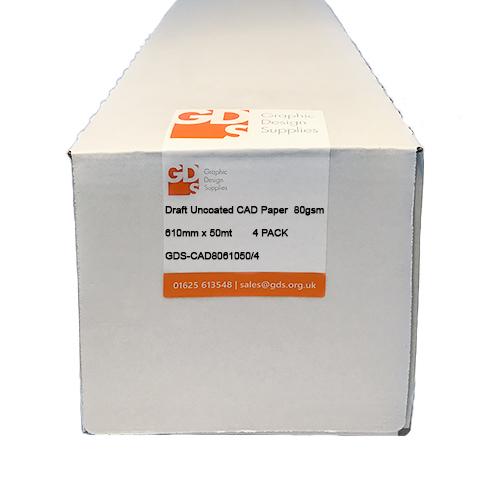 "HP DesignJet T130 Printer Paper | Draft Uncoated Inkjet CAD Plotter Paper Rolls | 80gsm | 24"" inch | A1+ | 610mm x 50mt | 4 Roll Pack | GDS-CAD8061050/4/T130"