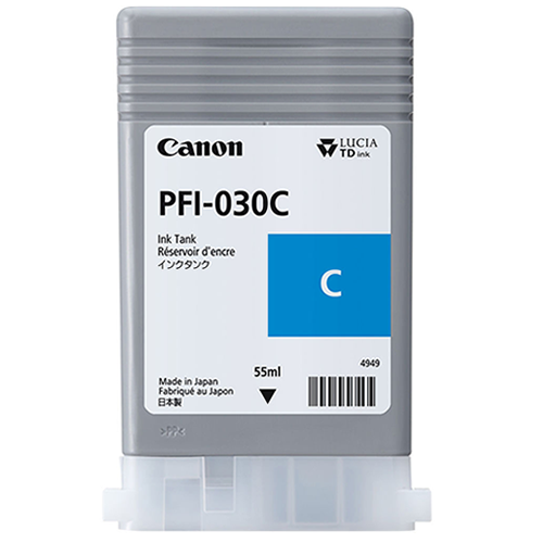 Canon PFI-030C Cyan Ink Tank | 55ml Cartridge | for Canon TA-20 & TA-30 Printers | 3490C001AA