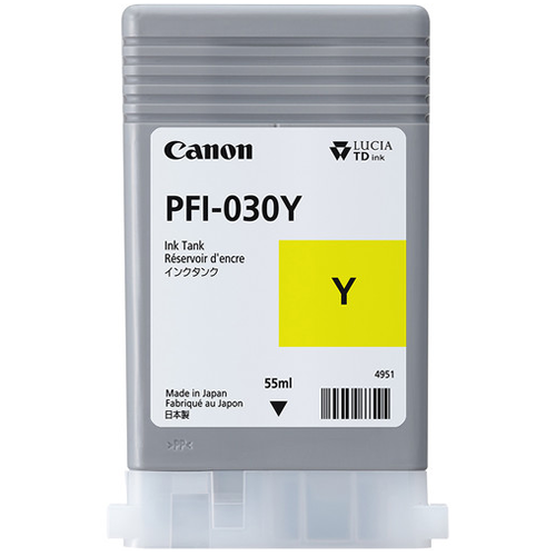 Canon PFI-030Y Yellow Ink Tank | 55ml Cartridge | for Canon TA-20 & TA-30 Printers | 3492C001AA