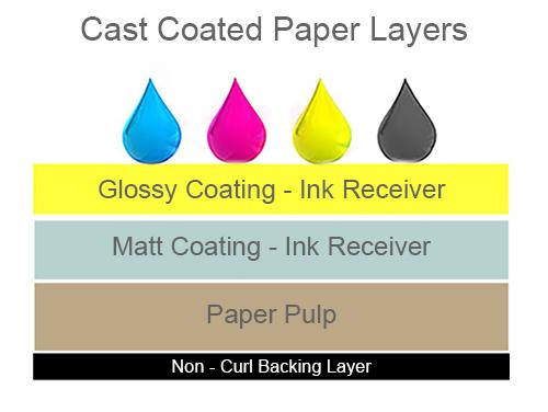 cast coated paper layers