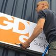 GDS Banner being fitted